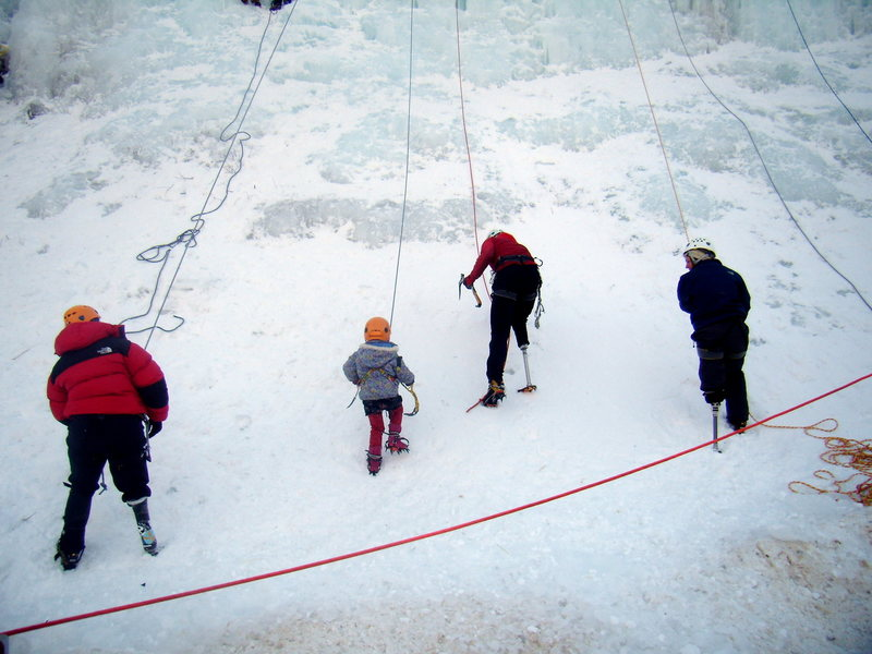Children and instructors getting after it at the kids wall.  Ouray Ice Fest Jan 2010.