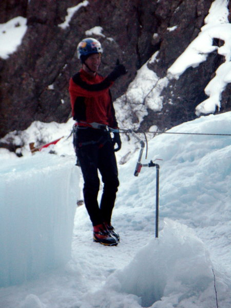 Rock Climbing Photo: Will Gadd ready to drop in again.  Ouray Ice Park ...