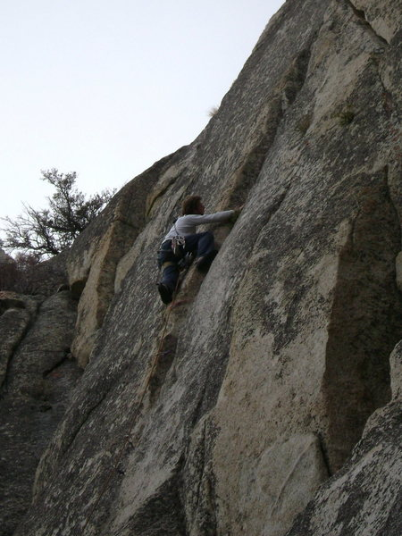 Chris Miley moving up the thin crack section of O.U.L.D. on his way to the onsight.