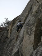 Rock Climbing Photo: Chris Miley moving up the thin crack section of O....