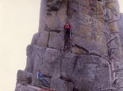 Rock Climbing Photo: Don belayed by Rick leads the first ascent of the ...