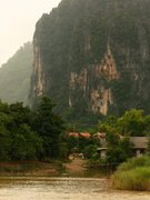 Rock Climbing Photo: The west village of Vang Vieng with the main climb...