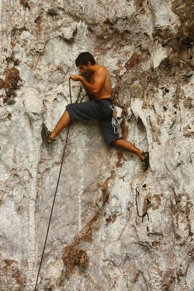 Rock Climbing Photo: Saul on the direct start of Pit Viper