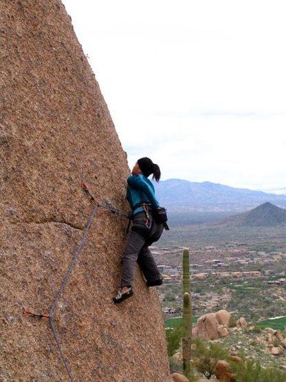 Rock Climbing Photo: Helen on the crux.