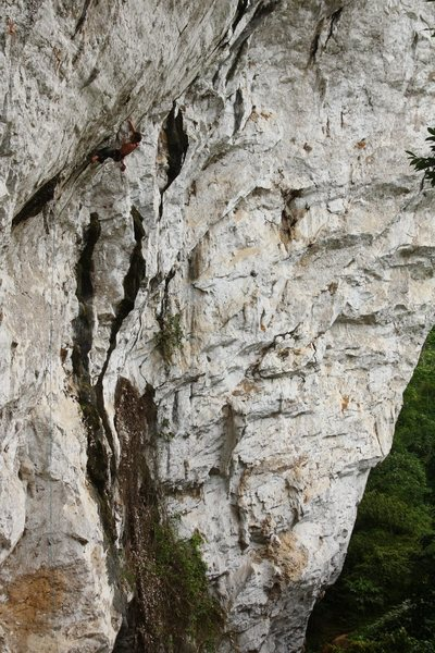 Rock Climbing Photo: Another shot of Les Larmes, showing the full route...