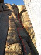 Rock Climbing Photo: Follow the red line.  Turkey Sandwich is the wide ...