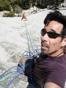 Rock Climbing Photo: Chris following pitch 2, Scott pretending to belay...