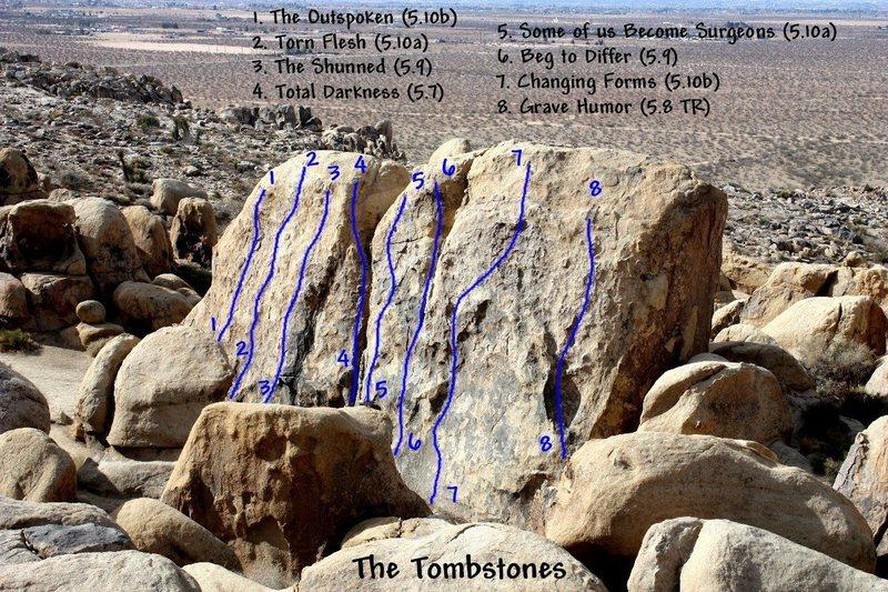 Rock Climbing Photo: Photo/topo for The Tombstones, Horseman's Center