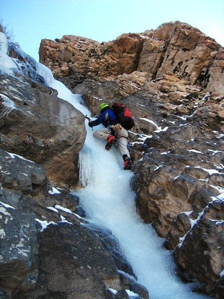 Rock Climbing Photo: Dave on Willard Canyon Waterfall's first steep bit...