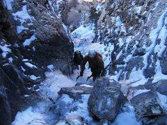 Rock Climbing Photo: The boyz coming up the narrow lower angle ramble p...