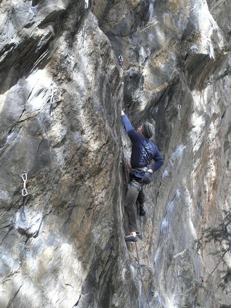 Rock Climbing Photo: Just past the crux on Suburban Cowgirls. One more ...