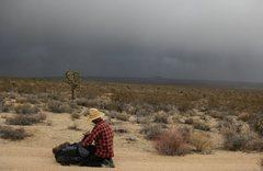 Rock Climbing Photo: Jonny putting on rain gear as we left Marl Springs...