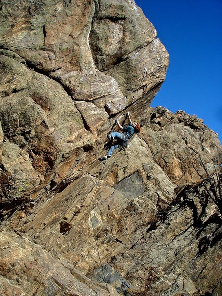 Luke working the 2nd power crux on the route for the F.A. of what would become &quot;Spinner Bait.&quot;  Located on the newly posted formation &quot;The Guppy.&quot;  <br> <br> Photo by: Jaime Childers.