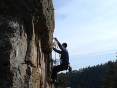 Rock Climbing Photo: Clipping just past the crux.