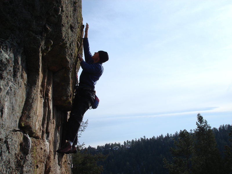 Rock Climbing Photo: Last bomb to the top bolts.