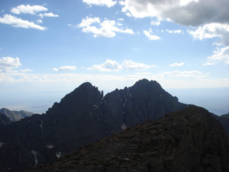 Crestone Needle (left summit)and Crestone Peak (right summit) from the summit of Humbolt Peak