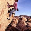 Bill Price bouldering at Turtle Rock Boulders.<br> Photo by Blitzo.