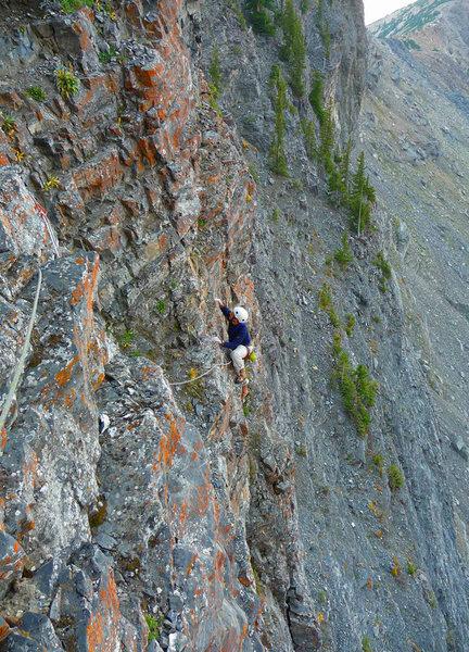 Rock Climbing Photo: Shaft on P4, the gully traverse. More vert, less c...