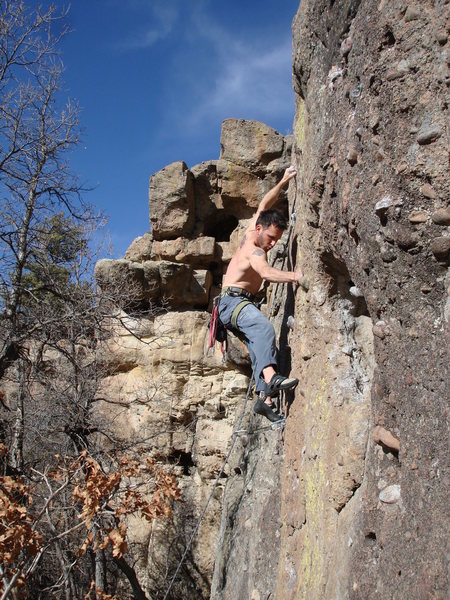 Looking for good feet before the crux.