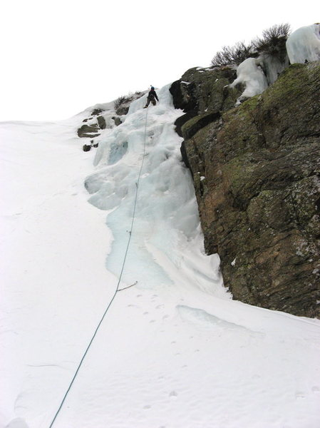 Rock Climbing Photo: Left side of Timberline Falls.  100' of WI3 on 1/1...