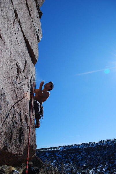 Rock Climbing Photo: Carlos starts The Philosopher's Stone. FoleyPhoto
