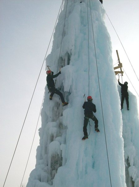 Rock Climbing Photo: 3 climbers enjoy mid afternoon routes.