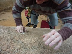 Rock Climbing Photo: From top of boulder to pad below it is a bit beyon...