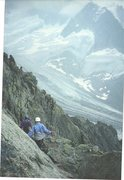 Rock Climbing Photo: Descending in a storm down from the Aiguille du Mo...