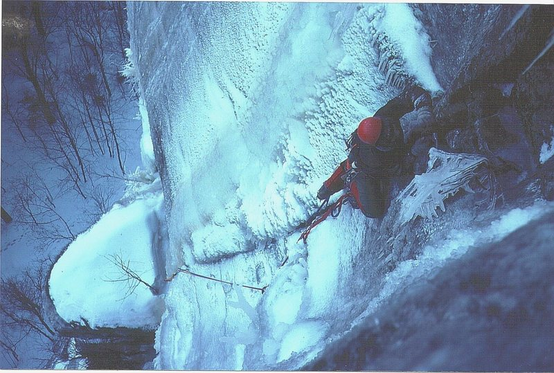 Historic photo Doug Madara on the first winter ascent of Diedre 1976.Photo P.Ross