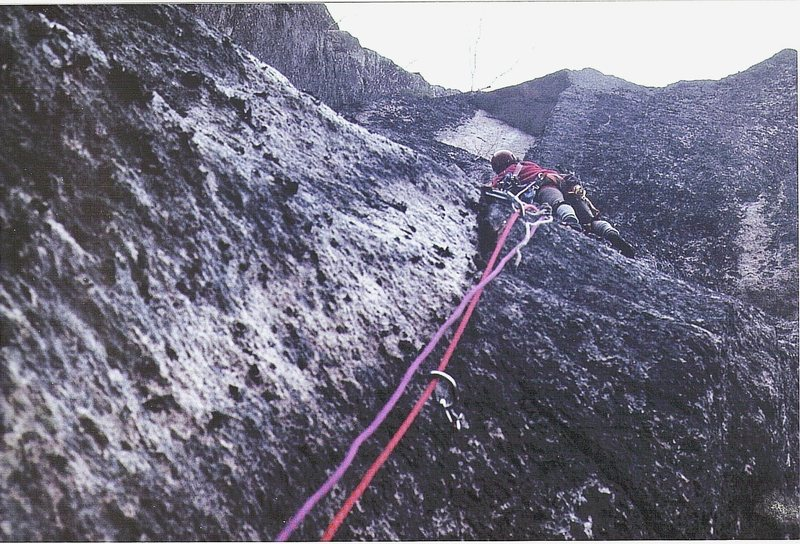 Historic photo ...Paul Ross on the first ascent of the the Prow.April 1972.As seen in photo the route was climbed uncleaned on sight, ground up.This was Ross's first new route on Cathderal Ledge.
