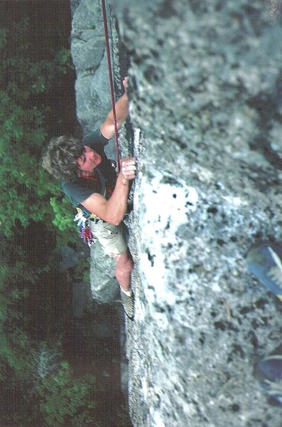 Historic Photo . Andy Tuthill on the crux section , following Chris Ellms on the second ascent. Sept 1978. Photo P.Ross