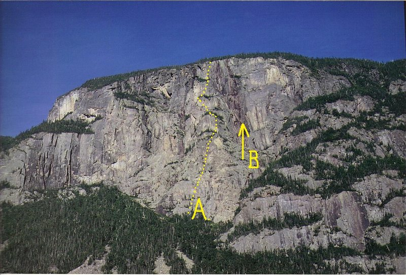 Rock Climbing Photo: A). Redcoats Resurrection.1500' 5.9. B).Site of th...