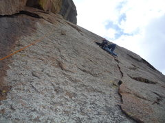 Rock Climbing Photo: The route with climber about halfway up.