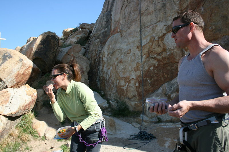 Rock Climbing Photo: David looks on as Agina licks Al veggies threateni...