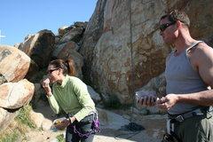 Rock Climbing Photo: David looks on as Agina licks Al veggies threateni...