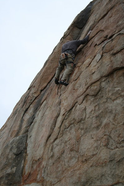 Rock Climbing Photo: Johnson with a quick solo up Unisloper. 1-17-10