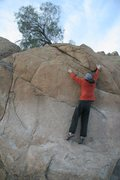 Rock Climbing Photo: Making the crux span on Peppertree Arete, V2+