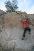 Rock Climbing Photo: About to gain the better holds on Peppertree Arete...