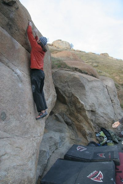 Rock Climbing Photo: About to make the crux pull on Peppertree Right, V...