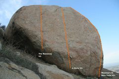 Rock Climbing Photo: Jong Long Boulder North East Face Topo