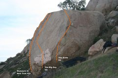 Rock Climbing Photo: Jong Long Boulder North West Face Topo