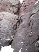 Rock Climbing Photo: Stew powering through the intense cold - DL Hardco...
