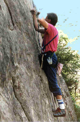 Rock Climbing Photo: Reese Martin drilling on lead during the first asc...