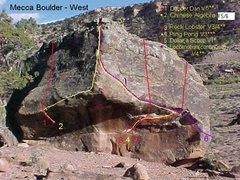 Rock Climbing Photo: West side of Mecca Boulder.