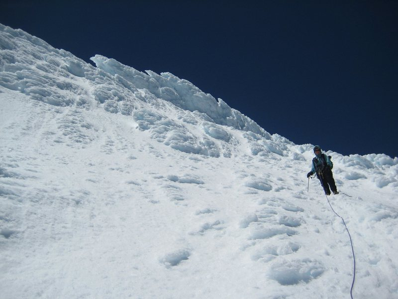 Seracs and debris guarding the summit of Volcan Osorno.