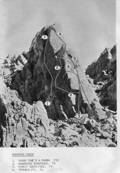 Moosedog Tower Beta photo from the classic 1979 edition of John Wolfe and Bob Dominick's guide.