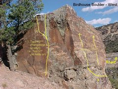 Rock Climbing Photo: Birdhouse Boulder West/southwest.  The slabby face...
