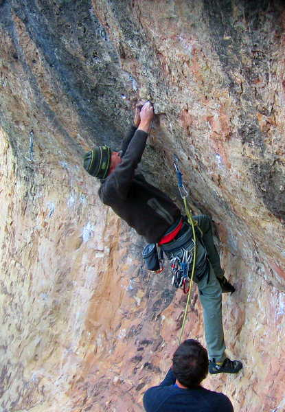 Pulling the first move 5.12b/c.