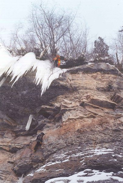 BG belaying in willows as hard-man, top-secret climbing guru, Scott Astaldi cleans up. Dec, 2001.