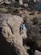 Rock Climbing Photo: Chris E. near the top of the slab.